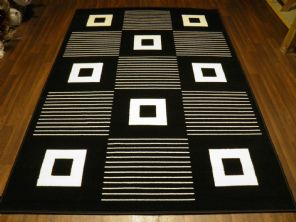 Modern Approx 6x4 120x170cm Woven Backed Black/ White Sale Quality Squares
